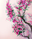Watercolor spring background. Magenta flowers on tree branches Royalty Free Stock Photos