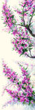Watercolor spring background. Purple flowers on tree branches Stock Image
