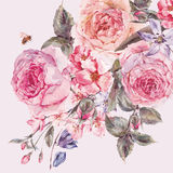 Watercolor spring bouquet with blooming cherry and english roses Royalty Free Stock Image