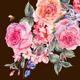 Watercolor spring bouquet with blooming cherry and english roses Stock Image