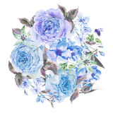 Watercolor spring bouquet with blooming cherry and english roses Stock Photos