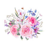 Watercolor spring bouquet with blue wildflowers and snowdrops. Vintage watercolor spring card with pink roses, blue wildflowers, blooming snowdrops, scilla Royalty Free Stock Image