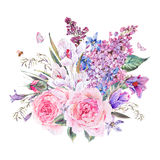 Watercolor spring bouquet with blue wildflowers and snowdrops. Vintage watercolor spring card with pink roses, blue wildflowers, blooming snowdrops, scilla Royalty Free Stock Photography