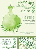 Watercolor Spring bridal shower invitation.Green Royalty Free Stock Image