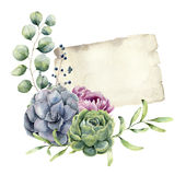 Watercolor spring card with floral design. Hand painted paper te Royalty Free Stock Images