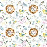Watercolor Spring Easter seamless pattern with chicks birds, colored eggs, nest, feathers vector illustration