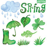 Watercolor Spring elements.Clouds, Word,leaves Stock Images