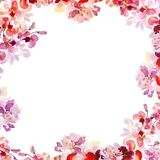 Watercolor Spring floral border with hand painted pink sakura flowers on white background. stock photo