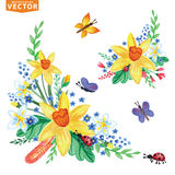 Watercolor Spring flowers group set Royalty Free Stock Image