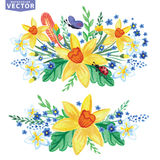 Watercolor Spring flowers group set Stock Images