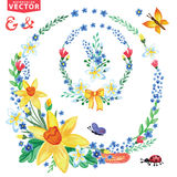 Watercolor Spring flowers wreath Royalty Free Stock Photo