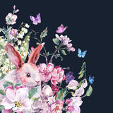 Watercolor spring greeting card white bunny stock illustration