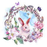 Watercolor spring Happy Easter wreath