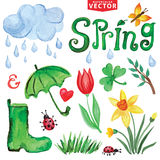 Watercolor Spring icons.Clouds, Word,leaves Stock Photo