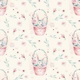 A watercolor spring illustration of the cute easter baby bunny. Rabbit cartoon animal seamless pink pattern with basket stock illustration