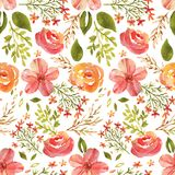Watercolor spring pattern. Hand-drawn watercolor floral seamless pattern with the spring flowers on the white background. Natural and vibrant repeated print for Stock Illustration