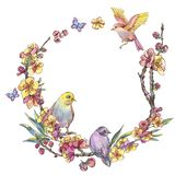 Watercolor spring round frame, vintage floral wreath with birds. Blooming branches of cherry, sakura, apple trees and butterflies, isolated botanical stock illustration