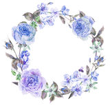 Watercolor spring round wreath with blue roses. Vintage garden watercolor spring round floral wreath with blue flowers blooming branches of cherry, peach, pear stock photo