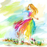 Watercolor spring running girl at light chiffon dress. The young barefoot woman at the light chiffon dress runs on flower ground. Image concept is youth Royalty Free Stock Image