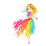 Watercolor spring running girl at light chiffon dress Stock Photo