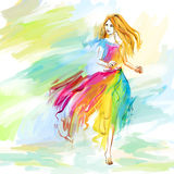 Watercolor spring running girl at light chiffon dress. The young barefoot woman at the light chiffon dress runs. Image concept is youth, lightness, happiness Stock Photo