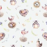 Watercolor spring rustic pattern with nest, birds, branch,tree twigs and feather. Watercolour seamless hand drawn bird. Background. Vintage, boho illustrations Stock Photo