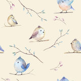 Watercolor  spring  rustic pattern with nest, birds, branch,tree Royalty Free Stock Photography