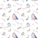 Watercolor  spring  rustic pattern with nest, birds, branch,tree Royalty Free Stock Images