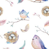 Watercolor  spring  rustic pattern with nest, birds, branch,tree Stock Photo
