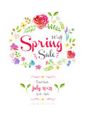 Watercolor spring sale poster Royalty Free Stock Image