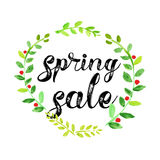 Watercolor spring sale vector poster Royalty Free Stock Photography