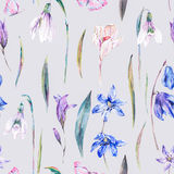 Watercolor spring seamless background with blue wildflowers Stock Photo