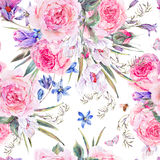 Watercolor spring seamless background with roses Stock Photos