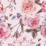 Watercolor spring seamless border with english roses. Shabby vintage garden watercolor spring seamless background with pink flowers blooming branches of cherry royalty free stock photography