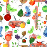 Watercolor spring set seamless pattern Royalty Free Stock Images