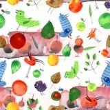 Watercolor spring set seamless pattern Royalty Free Stock Image