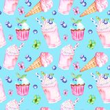 Watercolor spring and summer sweet desserts seamless pattern. Blue background with ice cream in a cone. Butterfly, blueberry milkshake and cupcakes.Hand stock images