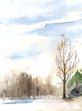 Watercolor spring sunny wood forest flood landscape.  Stock Images