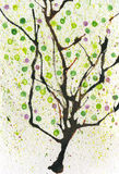 Watercolor spring tree Stock Photos