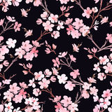 Watercolor with spring tree in blossom pattern in black. Watercolor with spring tree in blossom seamless pattern in black Royalty Free Stock Images