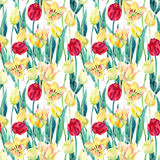 Watercolor spring tulips field seamless pattern. Blooming tulips season in Holland. Watercolor floral seamless pattern on white background. Hand painted Royalty Free Stock Image