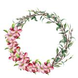 Watercolor spring wreath with apple flowers. Hand painted border with willow, tree branch with leaves isolated on white. Background. Easter floral illustration vector illustration