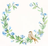 Watercolor spring wreath and bird Royalty Free Stock Photo