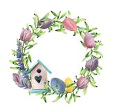 Watercolor spring wreath with birdhouse. Hand painted border with greenery, tulips and pastel eggs isolated on white stock illustration