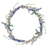 Watercolor spring wreath. Hand painted border with lavender, willow and tree branch with leaves isolated on white. Background. Easter floral illustration for vector illustration