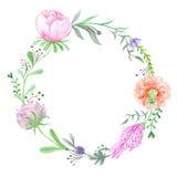 Watercolor Spring Wreath Stock Photo