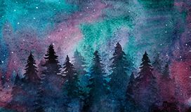 Watercolor night forest with the starry sky stock illustration