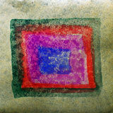 Watercolor square, blue, red abstract background Royalty Free Stock Photo
