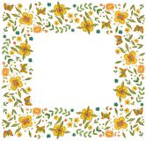 Watercolor square flower frame on white background stock illustration