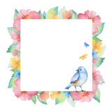 Watercolor square frame. stock illustration